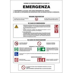 NORME DI COMPORTAMENTO IN CASO DI EMERGENZA 350X500 ALLUMINIO