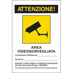 CARTELLO ALLUMINIO AREA VIDEO SORVEGLIATA MIS.300X200