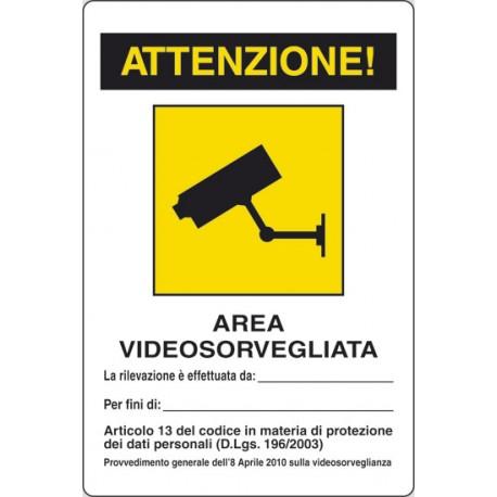CARTELLO ALLUMINIO AREA VIDEO SORVEGLIATA MIS.300X200