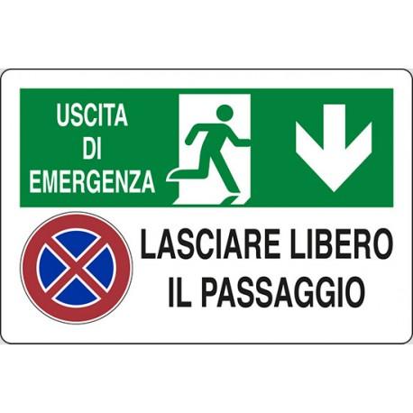 CARTELLO ALLUMINIO USCITA DI EMERGENZA LASCIARE LIBERO IL PASSAGGIO  MIS.300X200