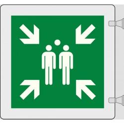 Cartello Plexiglass bandiera opalino MIS. 200X200 PUNTO DI RACCOLTA