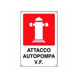CARTELLO ALLUMINIO ATTACCO VIGILI DEL FUOCO  MIS. 300X200