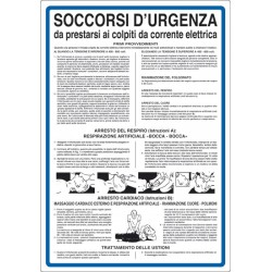 Cartello SOCCORSI D'URGENZA da prestarsi ai colpiti da corrente elettrica
