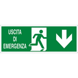 CARTELLO ADESIVO  USCITA DI EMERGENZA SOPRA PORTA ISO MIS.350X12,50