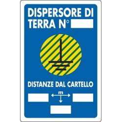 CARTELLO ALLUMINIO DISPERSIONE DI TERRA MIS.300X200