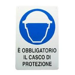 CARTELLO ALLUMINIO E' OBBLIGATORIO IL CASCO DI PROTEZIONE MIS. 300X200