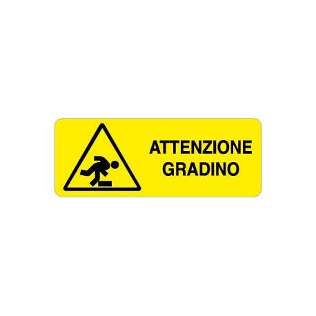 CARTELLO ALLUMINIO ATTENTI AL GRADINO MIS. 330X125