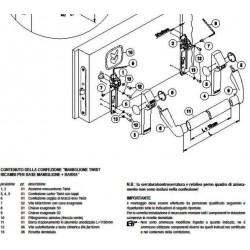 Ricambio maniglione Twist Base - plastica nera (2 meccanismi, 2 carter, 2 bracci, viti, dima, freccia)