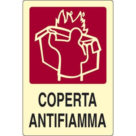 Cartello alluminio  COPERTA ANTIFIAMMA. mis. 300x200 fotoluminescente