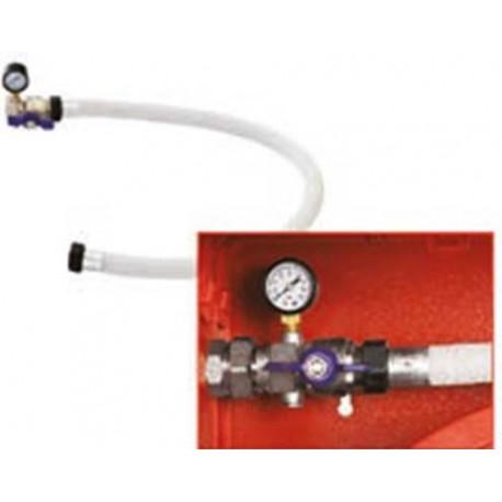 Tubo collettore bianco con valvola a sfera per naspo con manometro