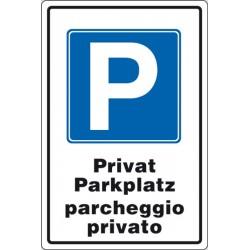 CARTELLO ALLUMINIO PARGHEGGIO PRIVATO MULTILINGUE MIS. 250X450