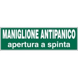 CARTELLO ADESIVO ADESIVO MANIGLIONE ANTIPANICO MIS. 200X100