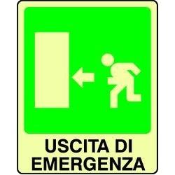 CARTELLO ALLUMINIO USCITA DI EMERGENZA SX FOTOLUMINESCENTE  MIS. 300x200