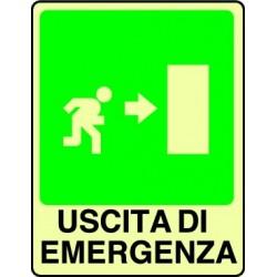 CARTELLO ALLUMINIO USCITA DI EMERGENZA DX FOTOLUMINESCENTE MIS. 300x200