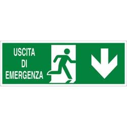 CARTELLO ALLUMINIO USCITA DI EMERGENZA SOPRA PORTA ISO MIS.350X12,50