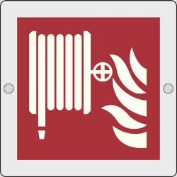 Cartello Plexiglass parete MIS. 200X200 (lancia antincendio-naspo - idrante fire hose reel) - kit montaggio incluso
