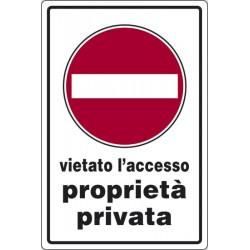 Cartello alluminio vietato l'accesso proprietà privata mis.45x30